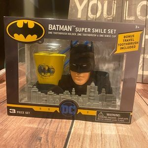 Batman 🦷 tooth brush set rinse cup and holder